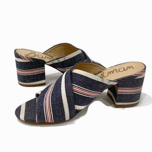 Sam Edelman Striped Fabric Upper Stanley Heels 6M